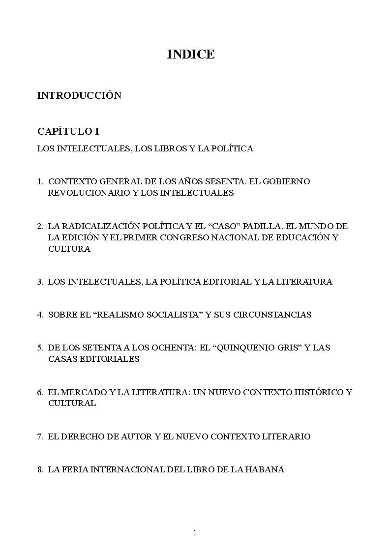 Indice della tesi: La política editorial en el regimen cubano , Pagina 1