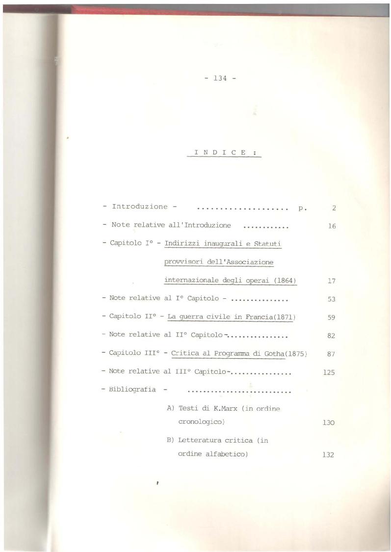 Indice della tesi: Storia e politica in Marx (1864-75), Pagina 1