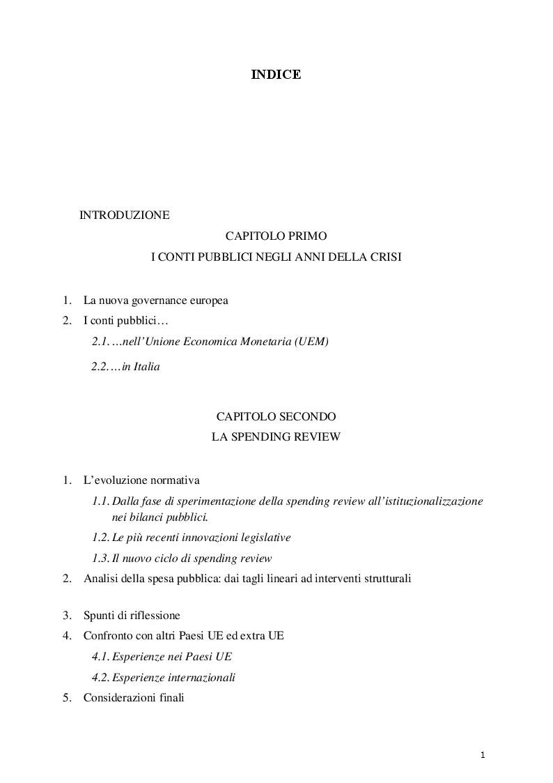 Indice della tesi: La spending review con particolare riguardo alla disciplina delle locazioni passive PA: il caso ISPRA, Pagina 1