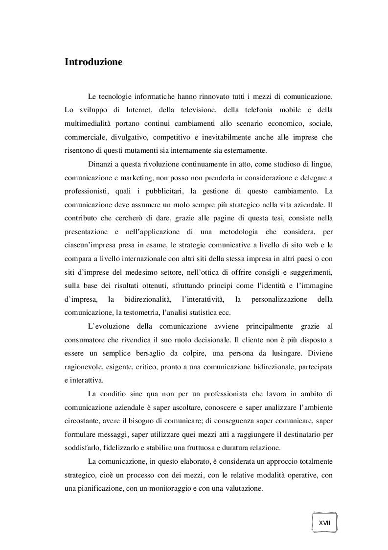 Estratto dalla tesi: Comunicazione aziendale online: metodologia internazionale di analisi testometrica e statistica.