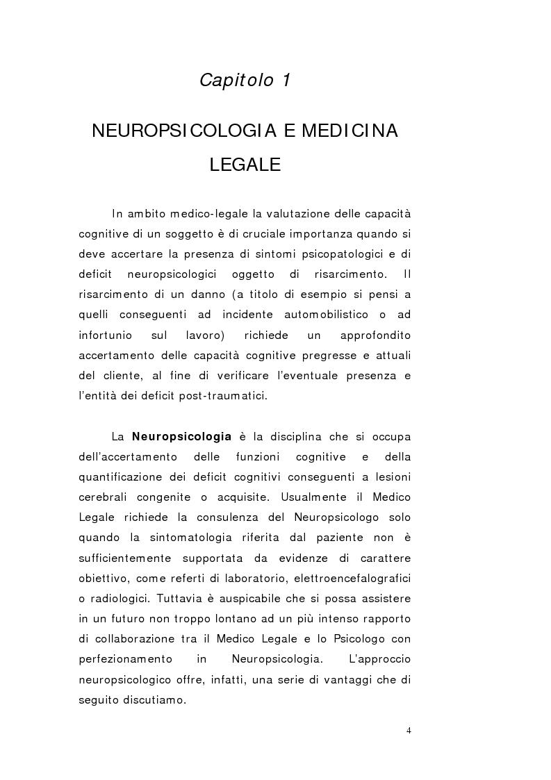 La perizia neuropsicologica: un metodo efficace per la detezione della simulazione dei deficit cognitivi - Tesi di Laure...