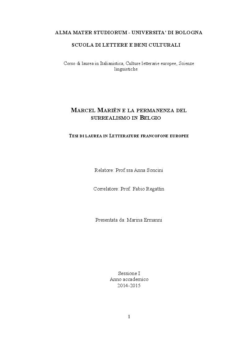 Anteprima della tesi: Marcel Mariën e la permanenza del surrealismo in Belgio, Pagina 1