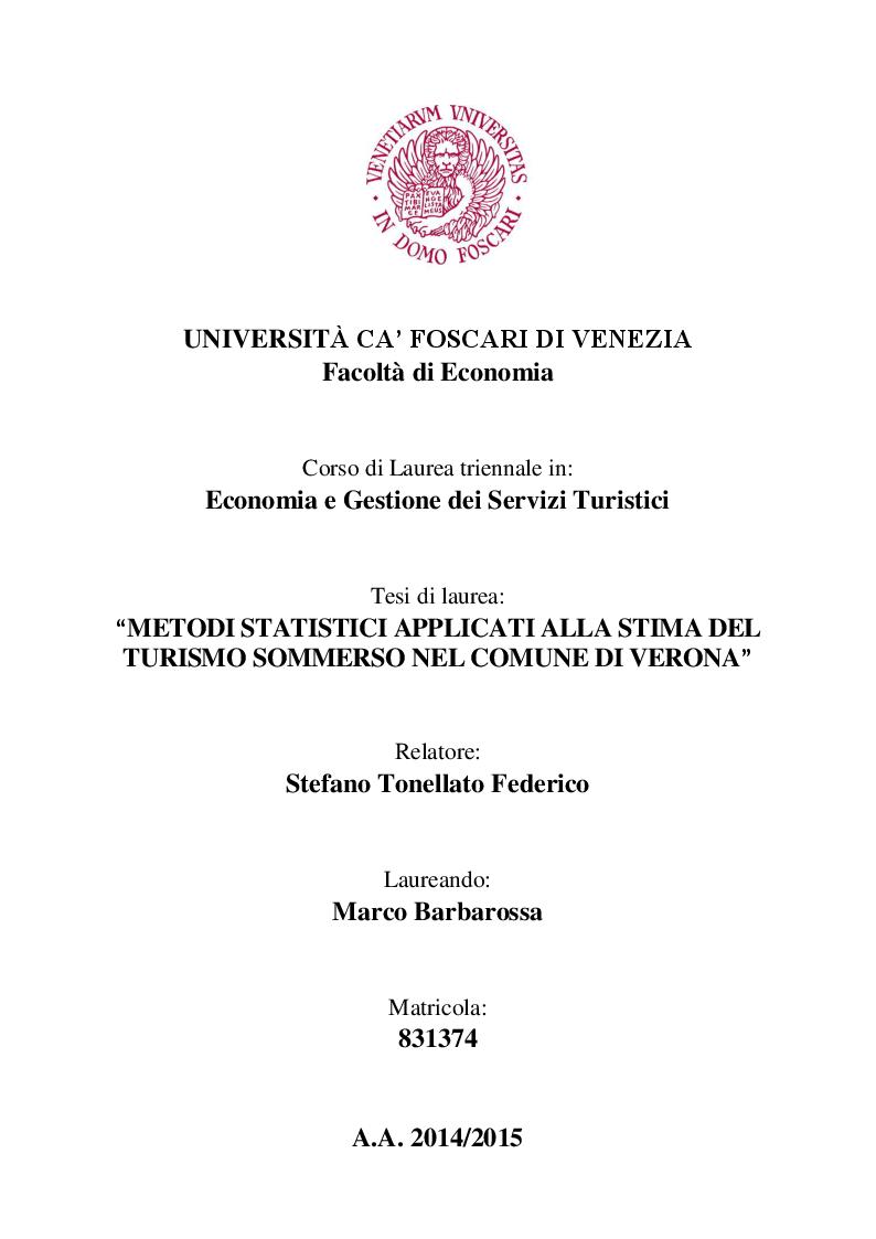 Anteprima della tesi: Metodi statistici applicati alla stima del turismo sommerso nel comune di Verona, Pagina 1