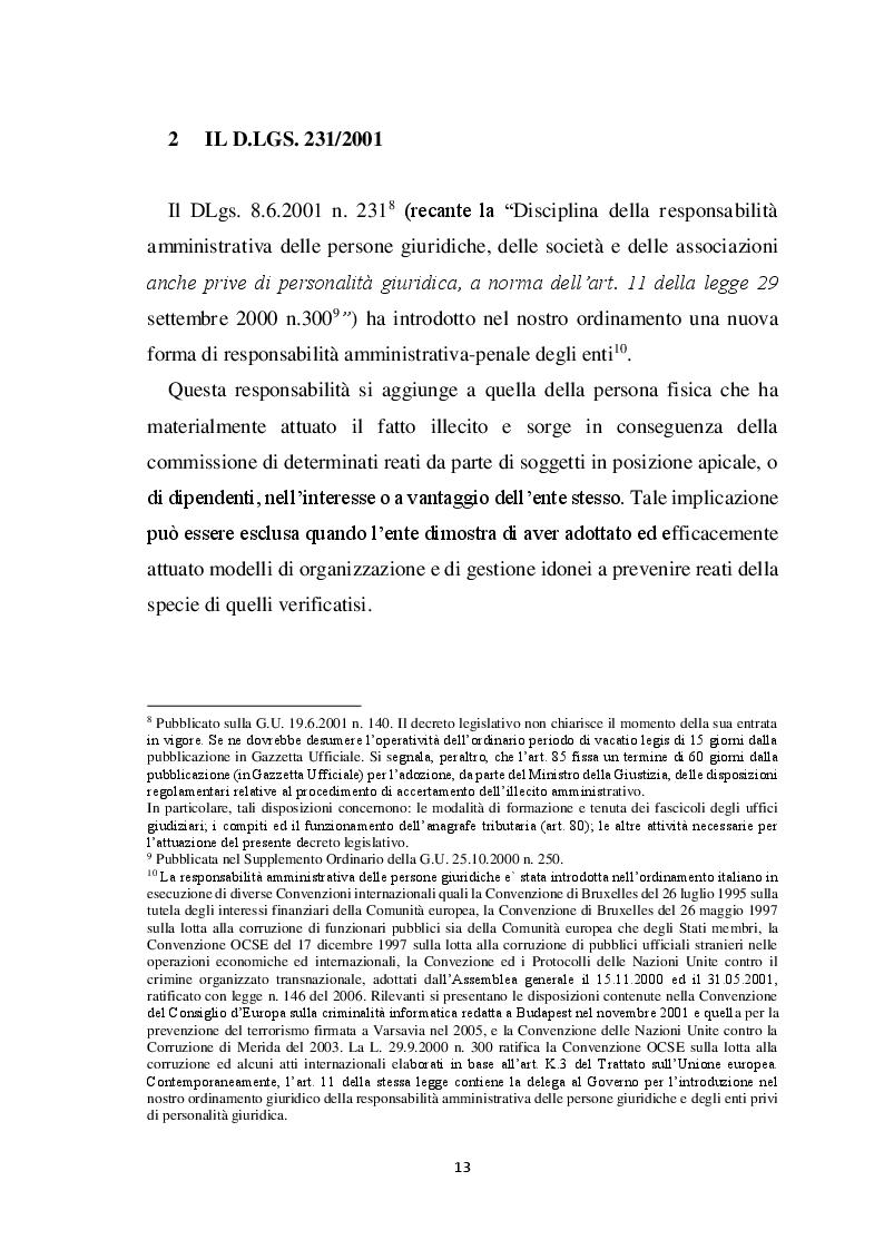 Estratto dalla tesi: L'ERM nel contesto normativo internazionale ed impatto sulla disciplina italiana. Peculiarità ed effetti applicativi del D.Lgs. n.231/2001