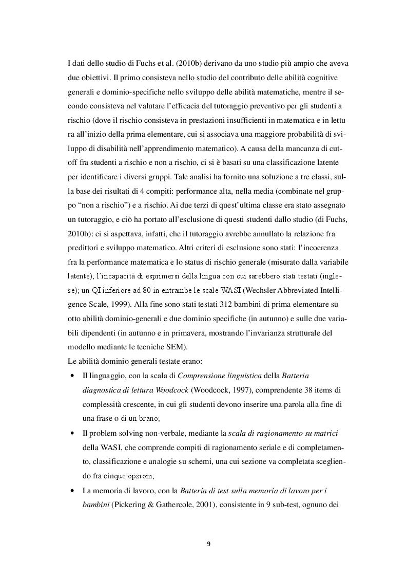 Estratto dalla tesi: Abilità dominio-generali e abilità dominio specifiche nell'apprendimento matematico
