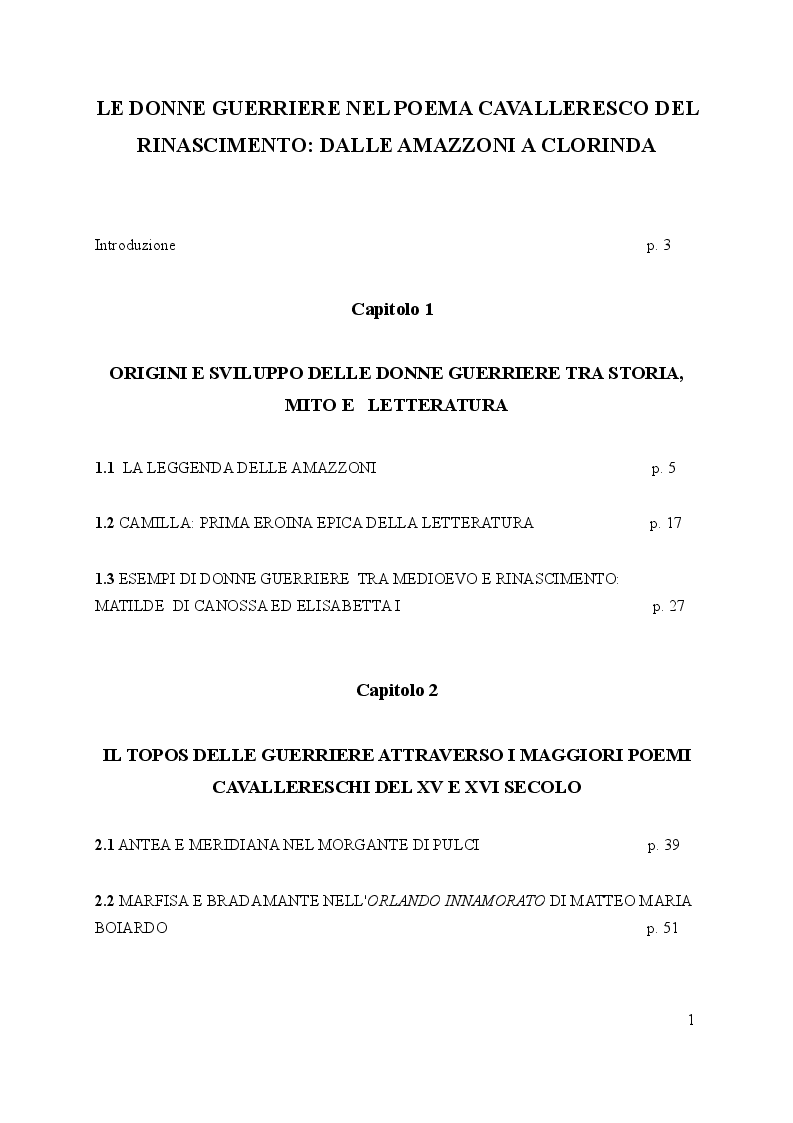 Indice della tesi: Le donne guerriere nel poema cavalleresco del Rinascimento: dalle amazzoni a Clorinda, Pagina 1