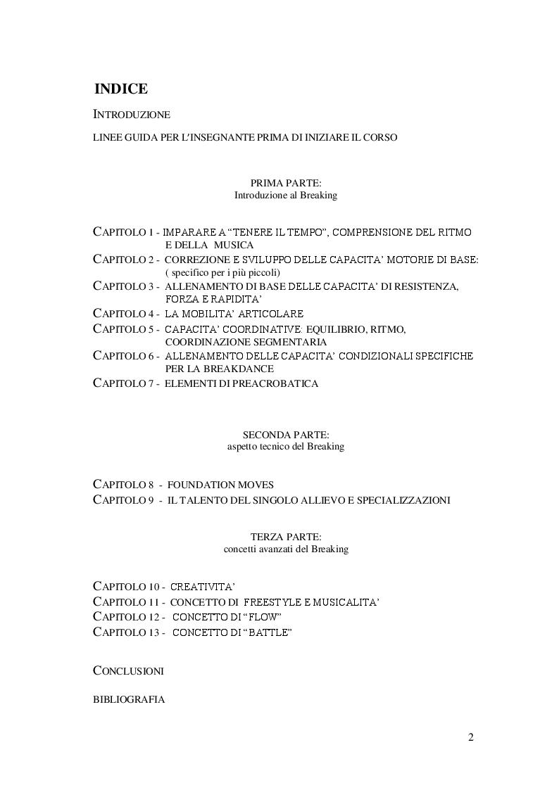 Indice della tesi: Metodologia generale dell'insegnamento della Breakdance, Pagina 1