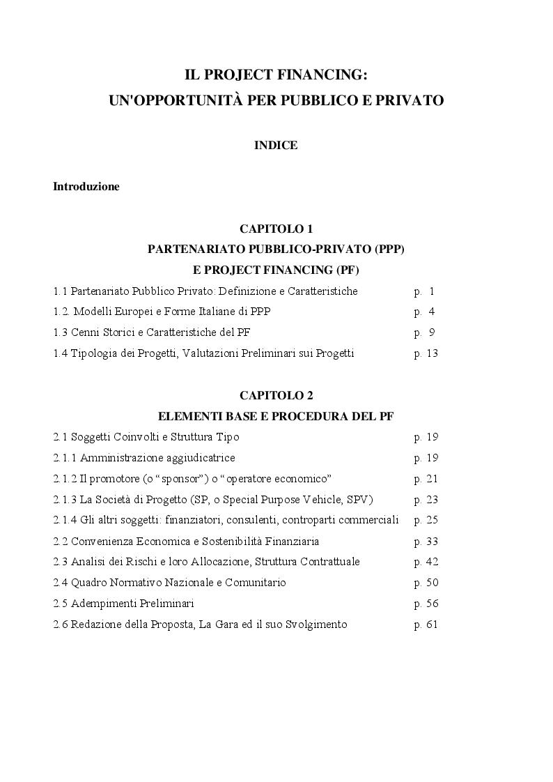 Indice della tesi: Il Project Financing: un'opportunità per pubblico e privato, Pagina 1