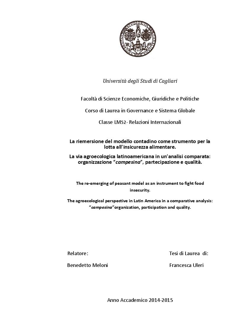 Anteprima della tesi: La riemersione del modello contadino come strumento per la lotta all'insicurezza alimentare. La via agroecologica  latinoamericana: organizzazione  ''campesina'', partecipazione e qualità., Pagina 1