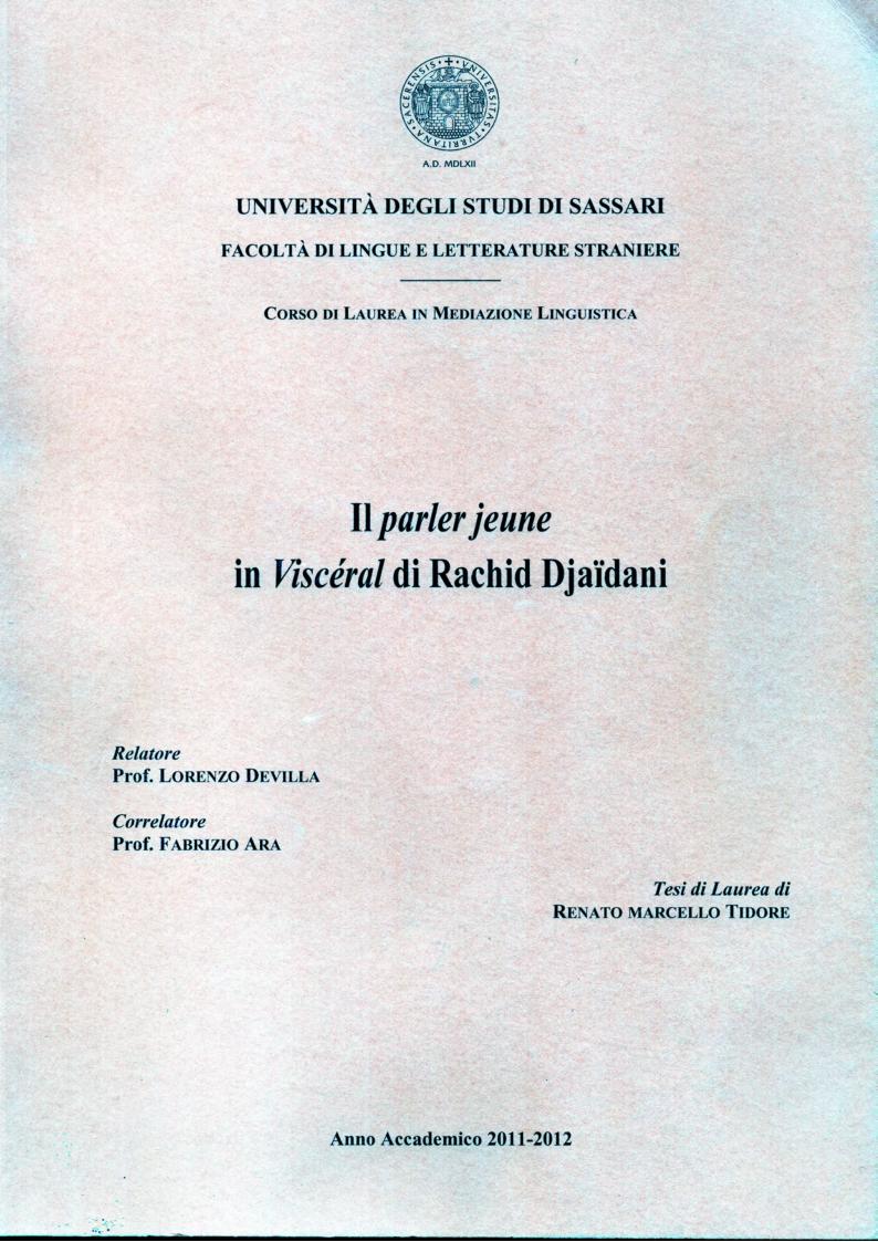 Anteprima della tesi: Il Parler jeune in ''Viscéral'' di Rachid Djaidani, Pagina 1