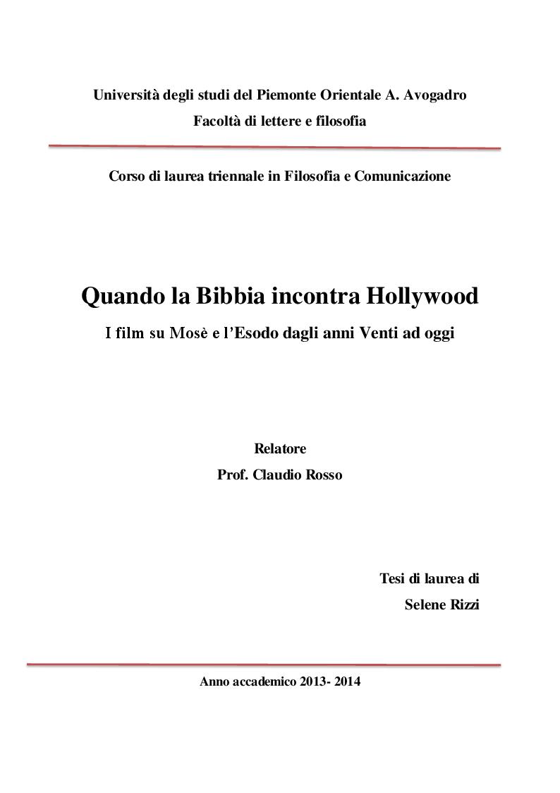 Anteprima della tesi: Quando la Bibbia incontra Hollywood. I film su Mosè e l'Esodo dagli anni Venti ad oggi, Pagina 1