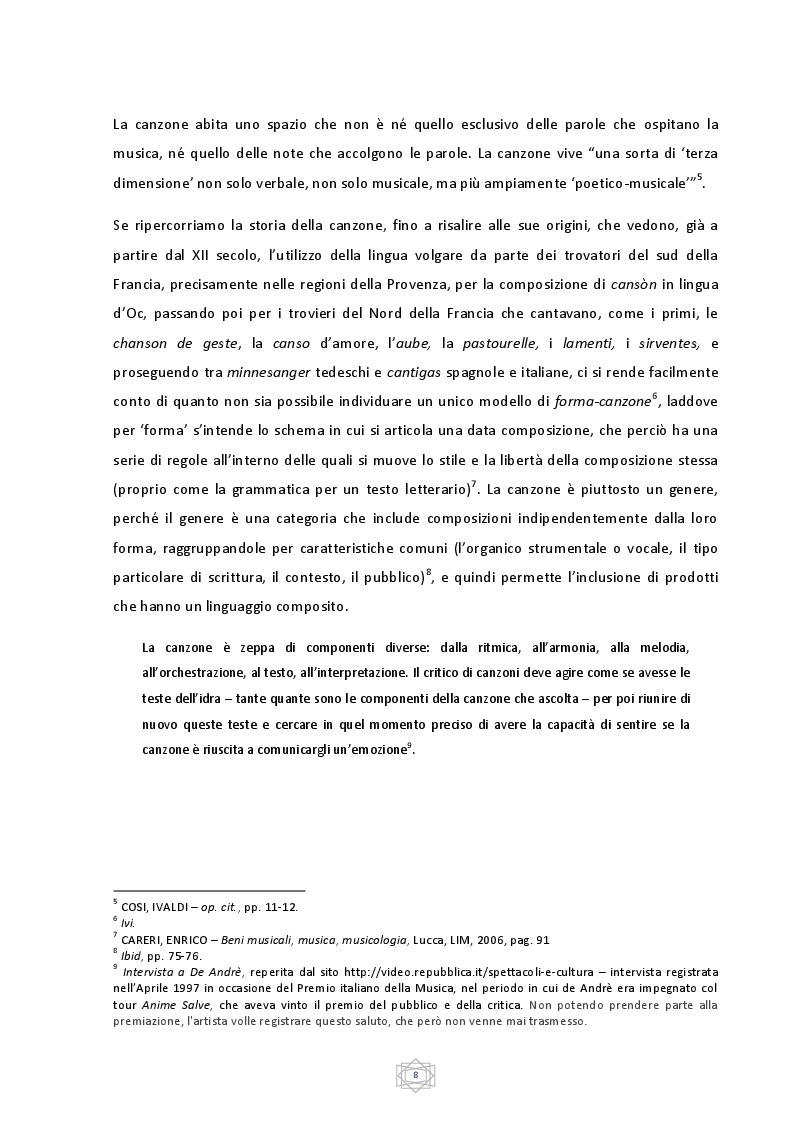 Estratto dalla tesi: La Buona Novella. La canzone d'autore tra fede e anarchia