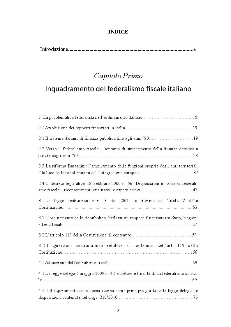 Indice della tesi: I fabbisogni standard nell'impianto del federalismo fiscale e nella spending review, Pagina 1