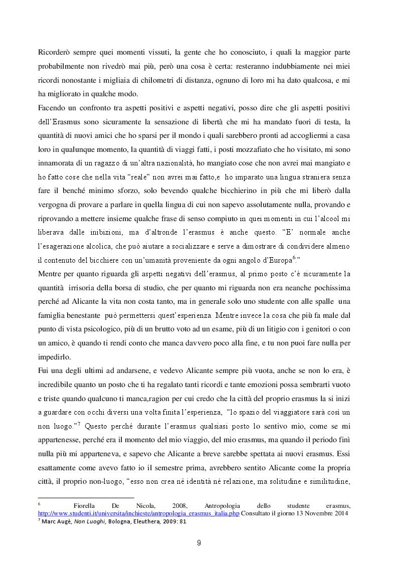 Estratto dalla tesi: No pasa nada soy erasmus: L'etnografia di un erasmus ad Alicante
