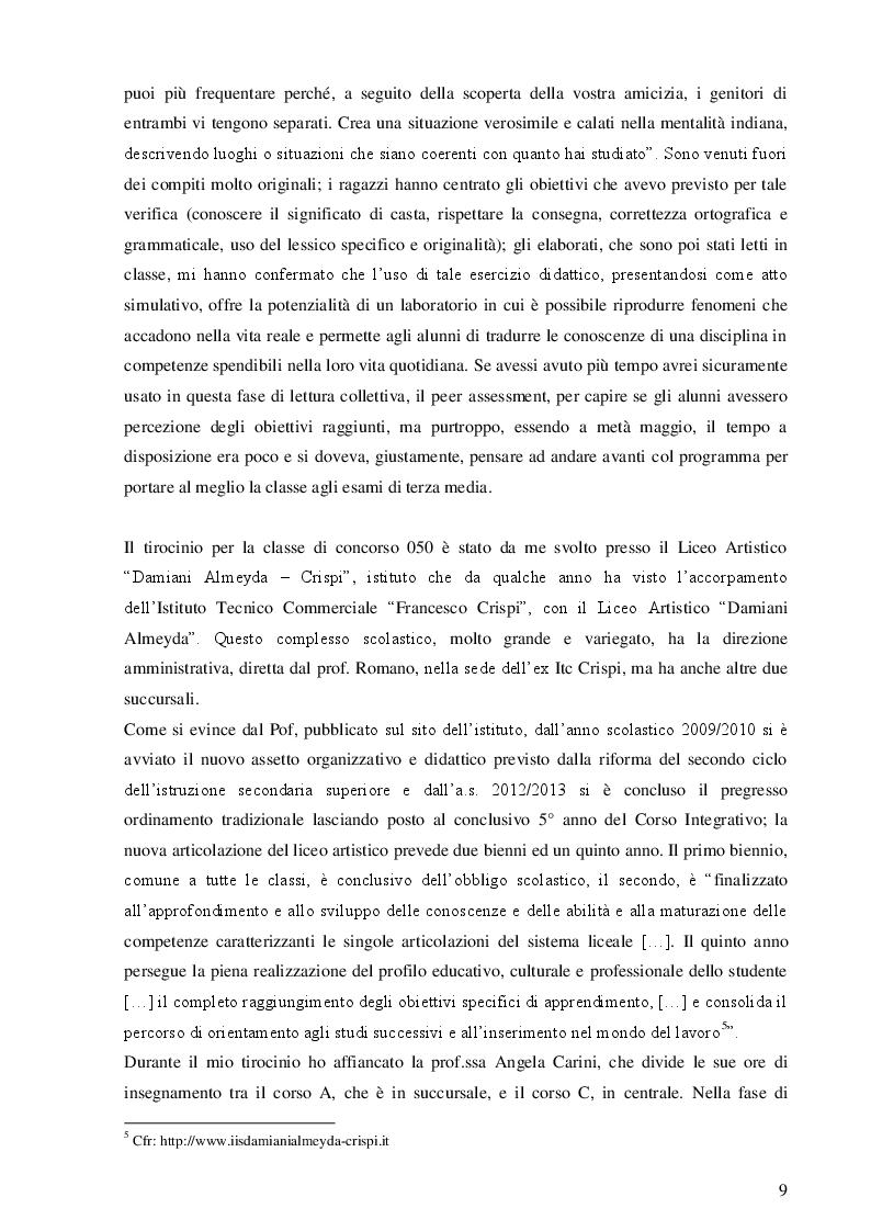 Estratto dalla tesi: Tirocinio formativo attivo. Relazione finale.