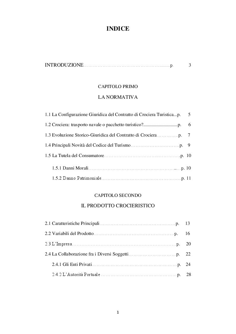 Indice della tesi: L'impresa turistica itinerante: Il settore crocieristico. Struttura e turismo indotto., Pagina 1