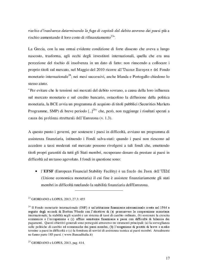 Estratto dalla tesi: La crisi dell'Eurozona e il nuovo modello di prevenzione e gestione delle crisi: L'Unione Bancaria Europea