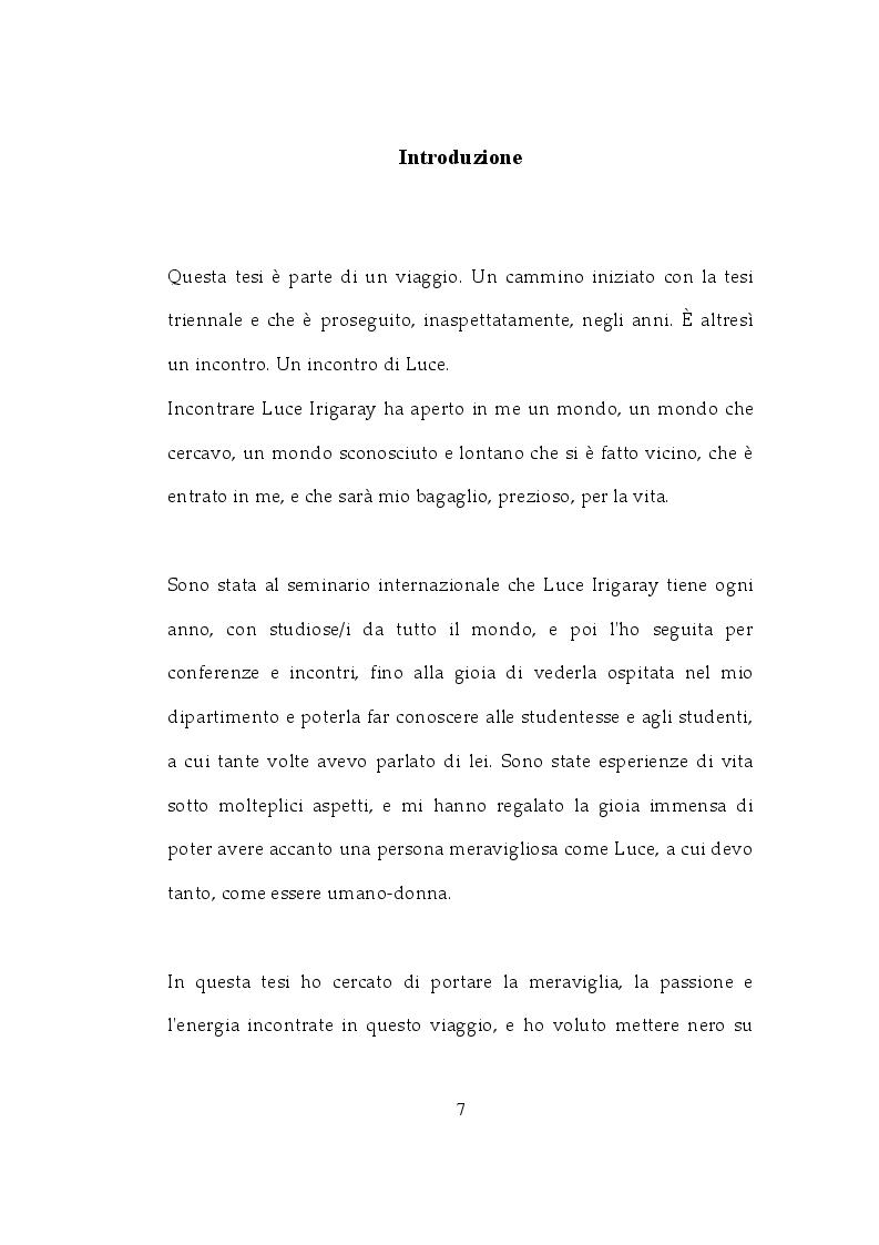 Anteprima della tesi: La filosofia di Luce Irigaray come pedagogia dell'espressione, Pagina 2