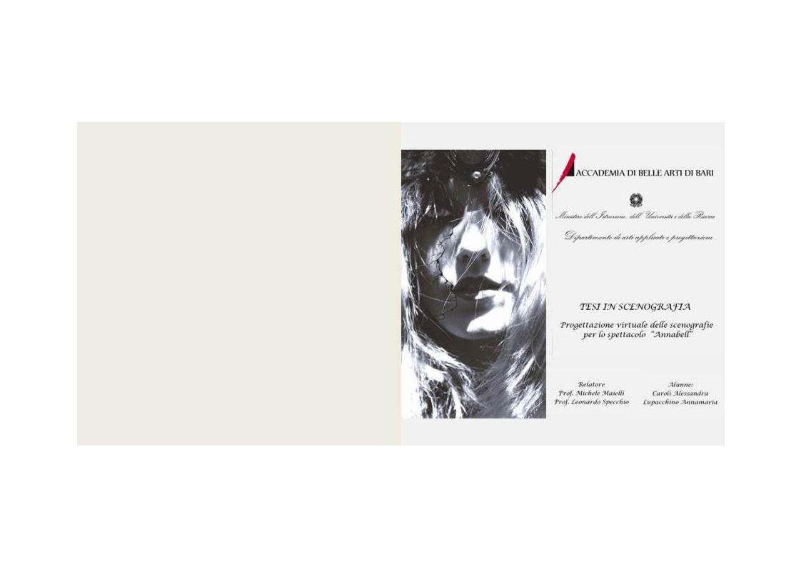 """Anteprima della tesi: Progettazione virtuale delle scenografie per lo spettacolo inedito """"Annabell"""", Pagina 1"""