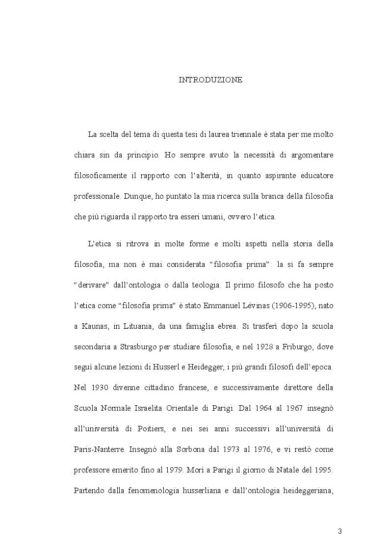 Il rapporto con l'alterit� nel pensiero di Emanuel L�vinas - Tesi di Laurea