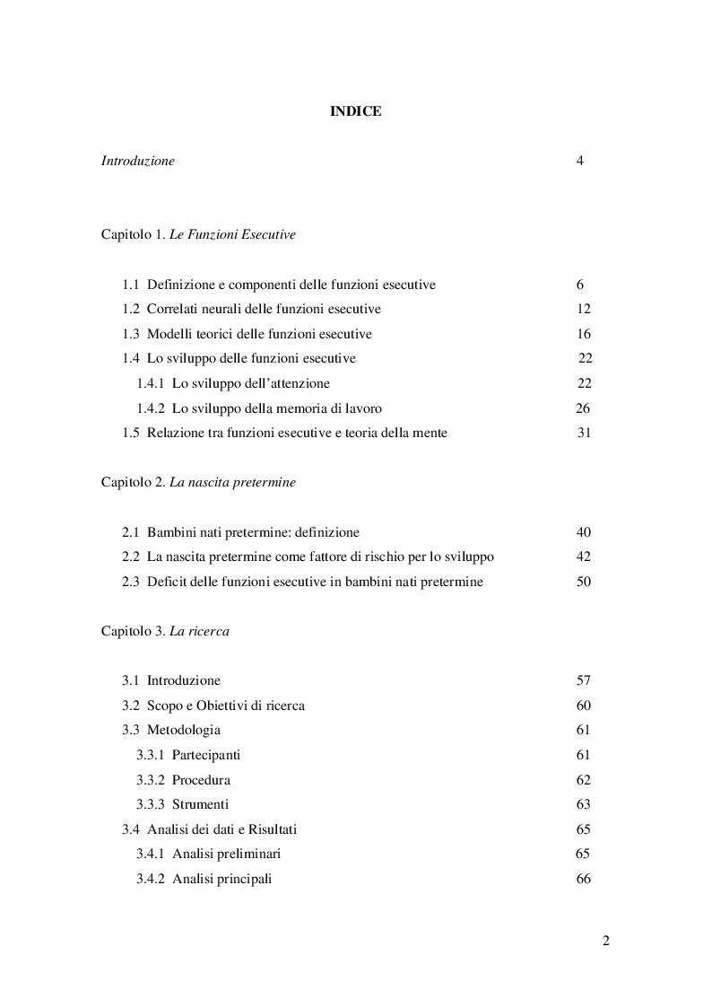 Indice della tesi: Effetti della prematurità sull'attenzione, sulla memoria di lavoro e sulla teoria della mente in età prescolare, Pagina 1
