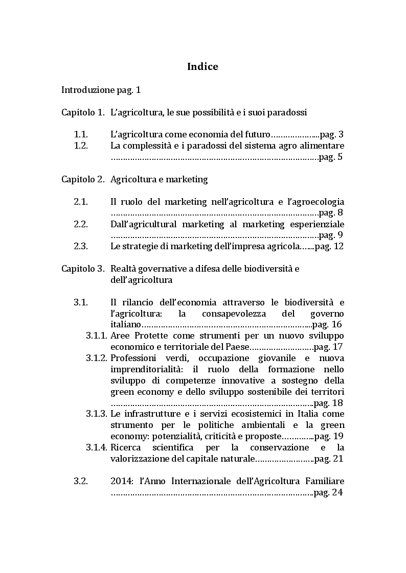 Indice della tesi: Comunicazione e marketing delle imprese agricole - La territorialità come strumento di crescita economica, Pagina 1