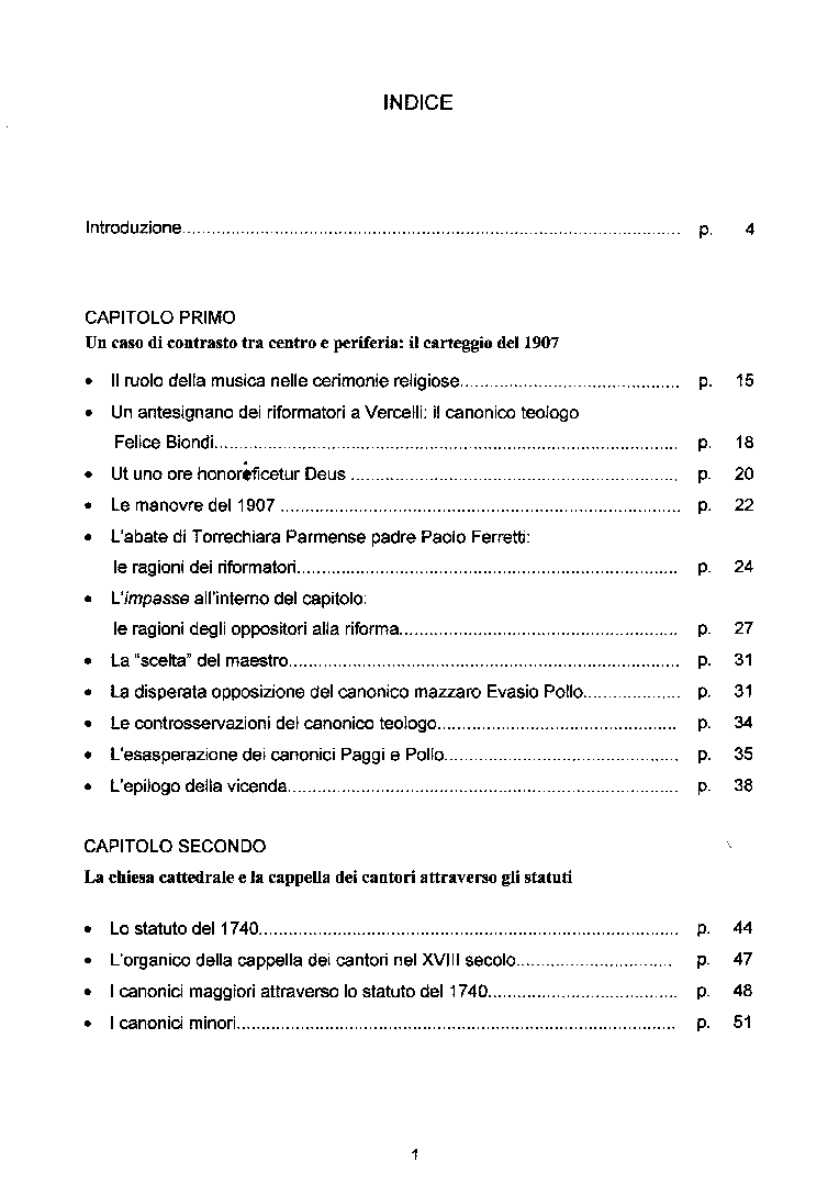 Indice della tesi: La Cappella dei cantori del duomo di Vercelli: profilo istituzionale ed economico (dagli statuti del 1740 all'inizio del XX secolo), Pagina 1