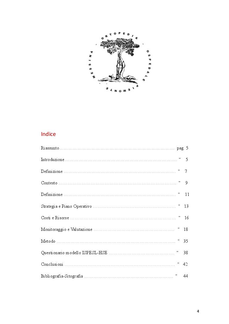 Indice della tesi: Gestione del rischio di stress lavoro-correlato nell'attività assistenziale ortopedico-traumatologica, Pagina 1
