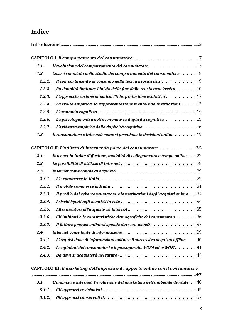 Indice della tesi: L'Evoluzione del Consumatore nell'Era di Internet, Pagina 1