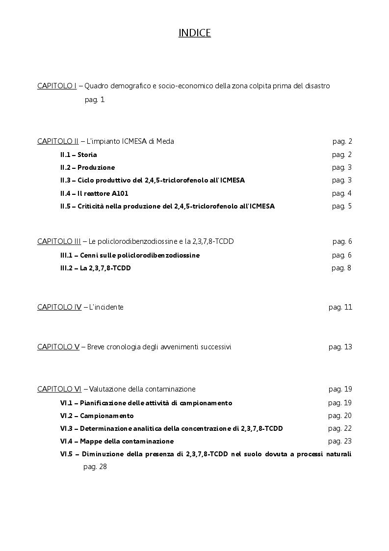 Indice della tesi: Il disastro di Seveso: contaminazione e interventi di ripristino ambientale, Pagina 1