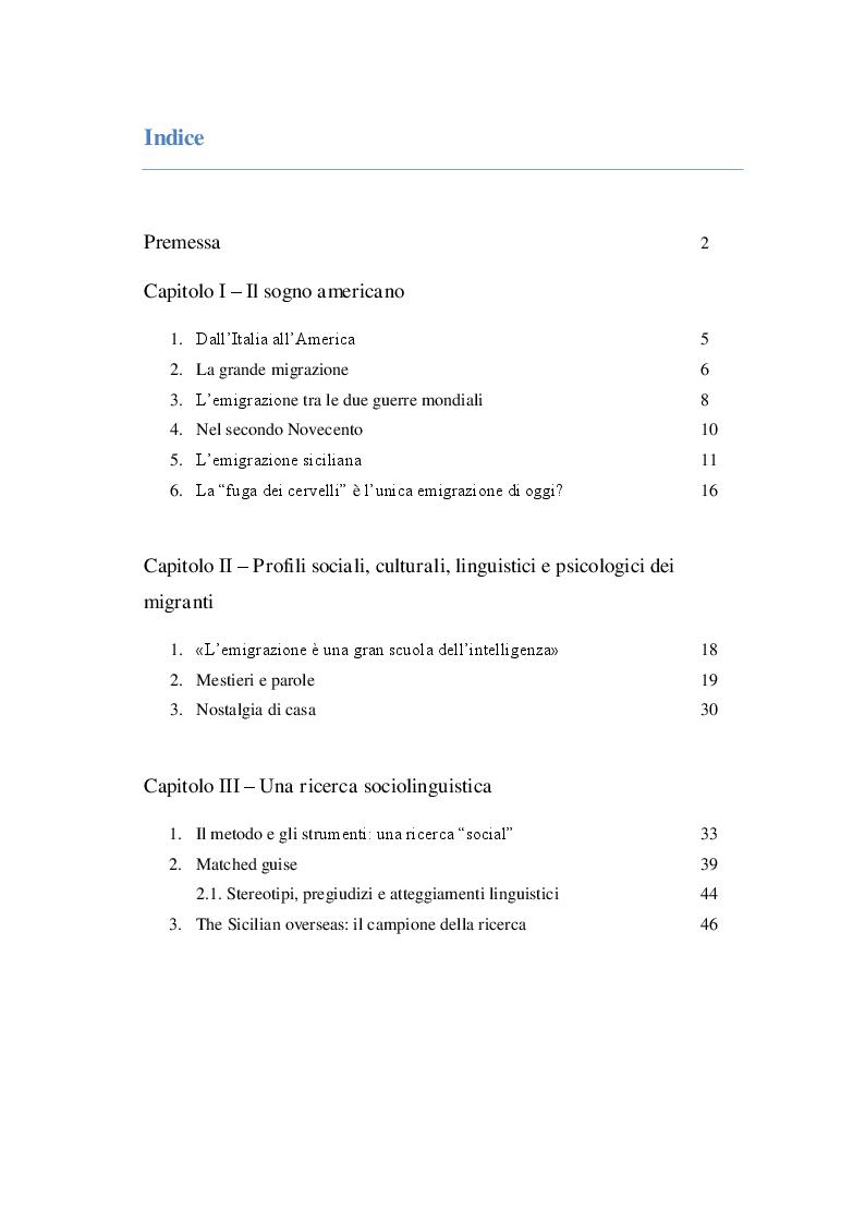 Indice della tesi: It makes me happy. Una ricerca sociolinguistica tra i siculo-americani degli Stati Uniti, Pagina 1