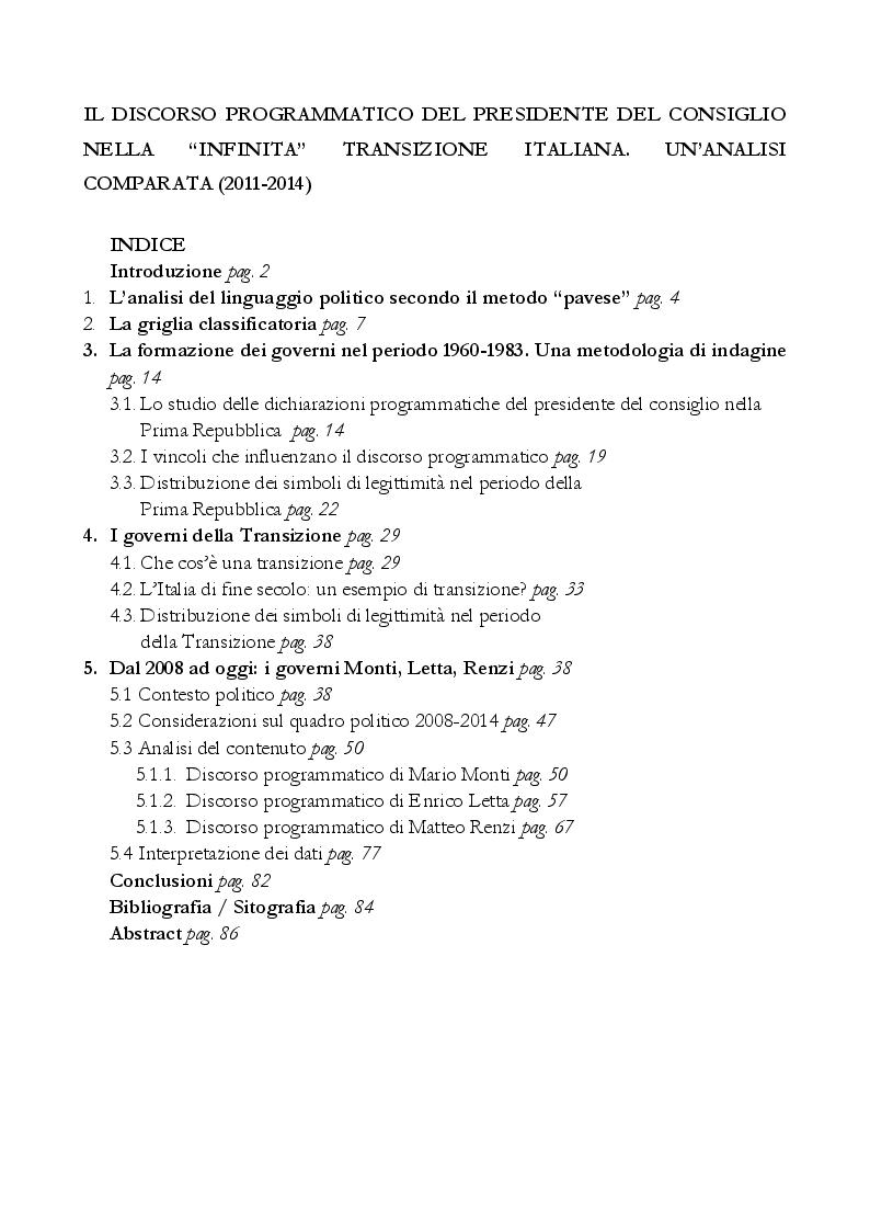 """Indice della tesi: Il discorso programmatico del presidente del consiglio nella """"infinita"""" transizione italiana. Un'analisi comparata (2011-2014), Pagina 1"""