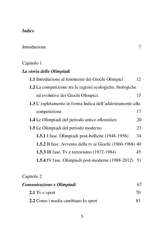 Indice della tesi: La diretta del mito. Atene 2004: come la tv racconta l'Olimpiade, Pagina 1