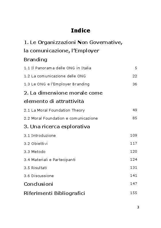 Indice della tesi: Comunicazione e Attrattività delle ONG. Una esplorazione sui fondamenti morali, Pagina 1