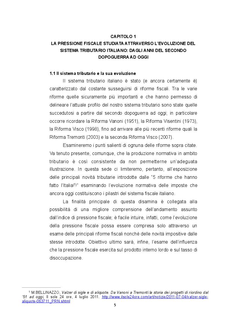L'influenza della pressione fiscale sul tasso di disoccupazione e di crescita economica: Il caso italiano e un confronto...