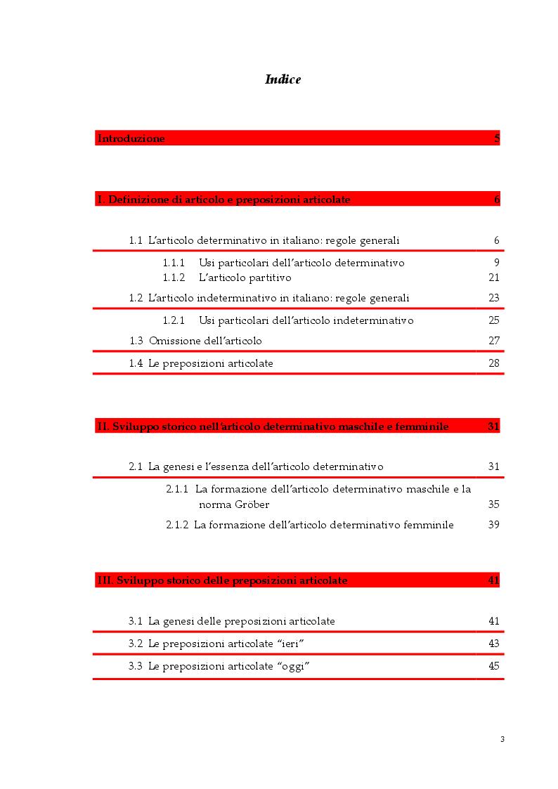 Indice della tesi: Gli articoli e le preposizioni articolate nell'italiano di oggi e di ieri, Pagina 1