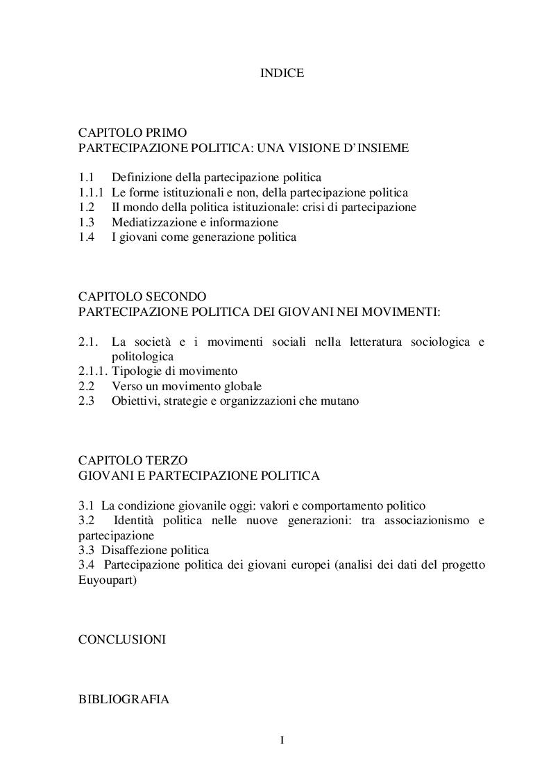 Indice della tesi: GIOVANI E POLITICA: il mutamento delle ''forme'' di Partecipazione, Pagina 1