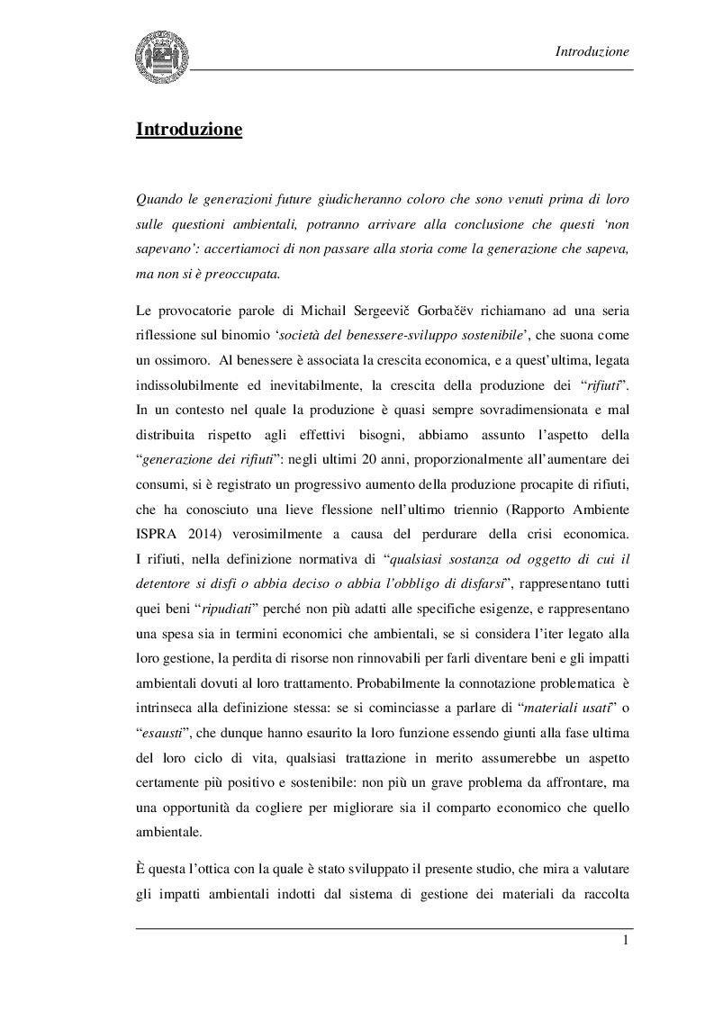 Estratto dalla tesi: Applicazione della Life Cycle Assessment alle attività di gestione dei materiali da raccolta differenziata: il caso studio di Baronissi (SA)