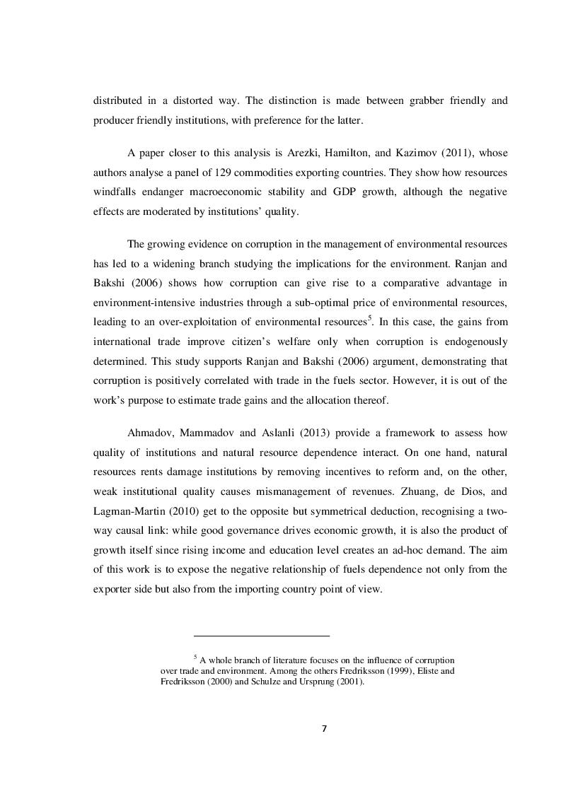 Estratto dalla tesi: Institutions and Fuels Trade: a Quantitative Analysis