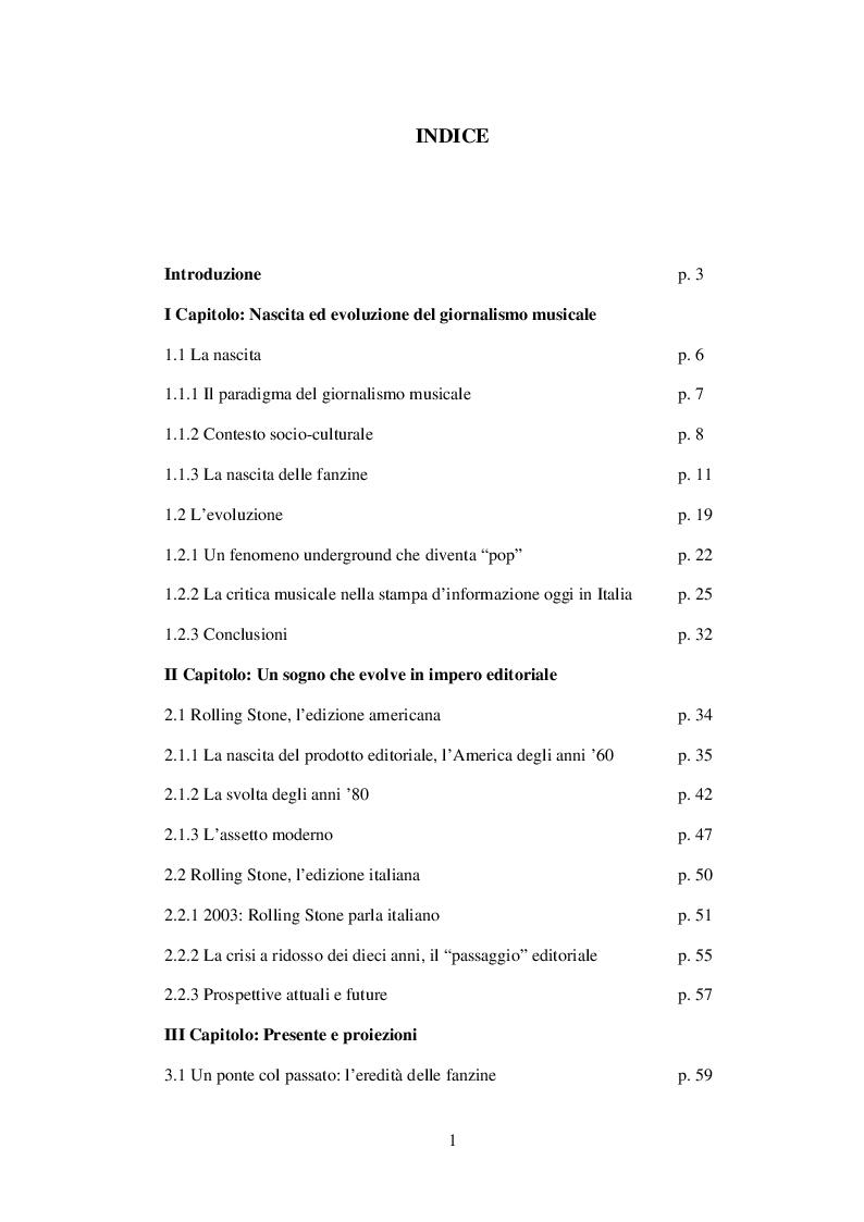 Indice della tesi: Il giornalismo musicale in Italia: il caso Rolling Stone, Pagina 1
