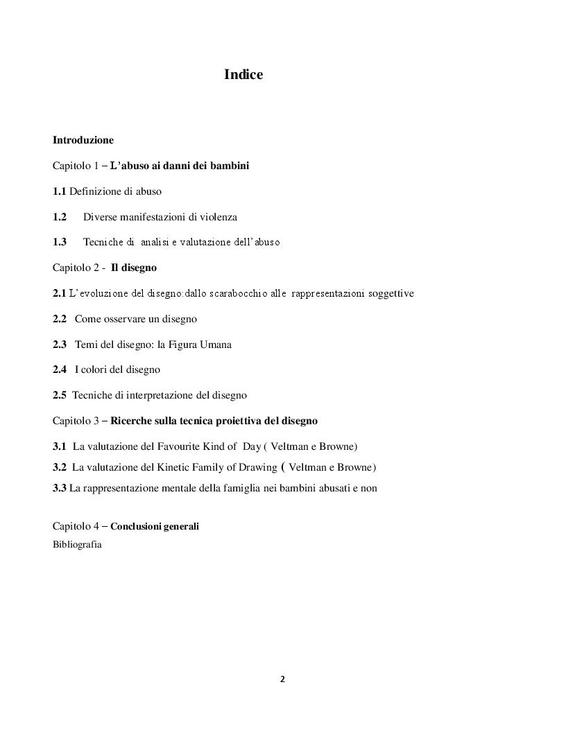 Indice della tesi: Abuso in età evolutiva: tecniche di analisi basate sul disegno, Pagina 1