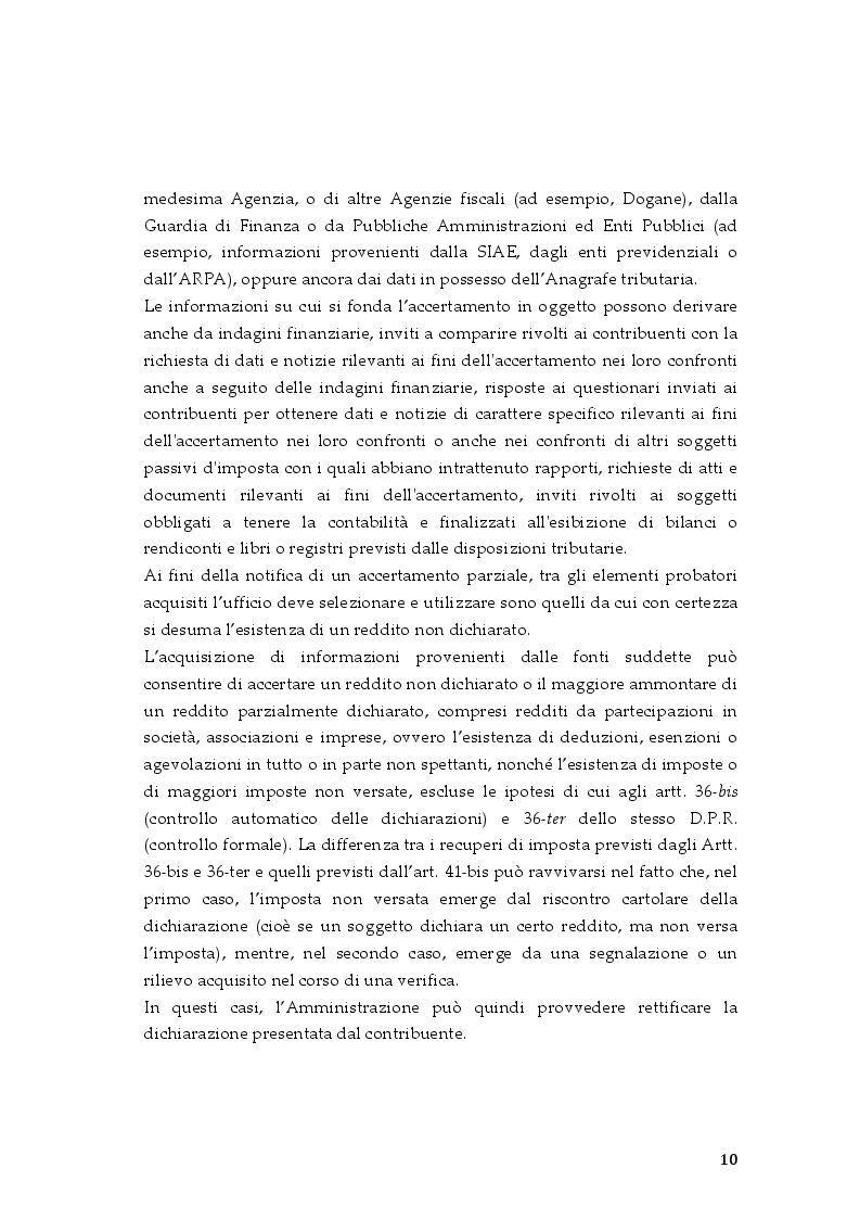 Estratto dalla tesi: L'accertamento parziale e integrativo nell'imposta sui redditi e nell'IVA