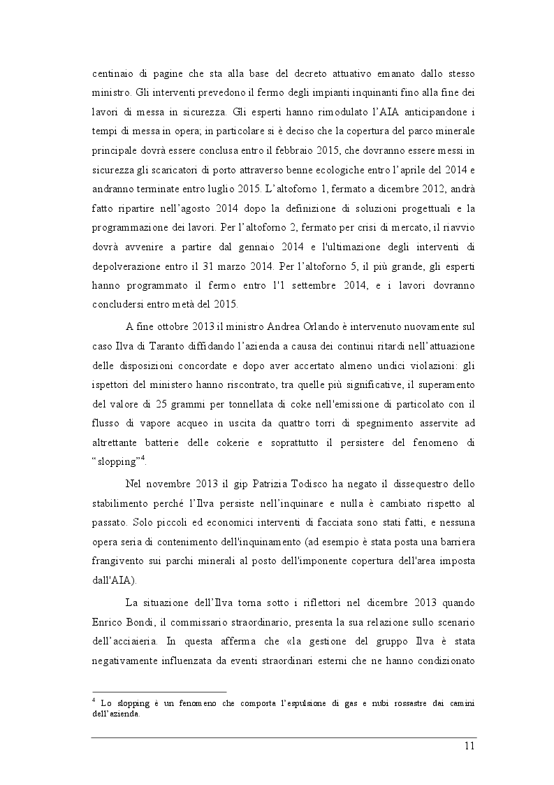Estratto dalla tesi: Ambiente, salute, lavoro. Equilibrio possibile? Il caso Ilva di Taranto presentato dai giornali