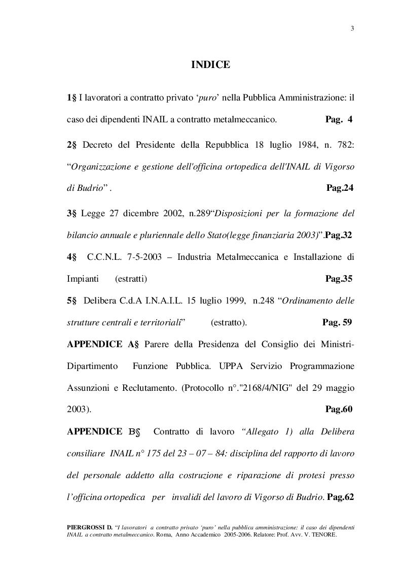Indice della tesi: I lavoratori a contratto privato 'puro' nella Pubblica Amministrazione: il caso dei dipendenti INAIL a contratto metalmeccanico., Pagina 1