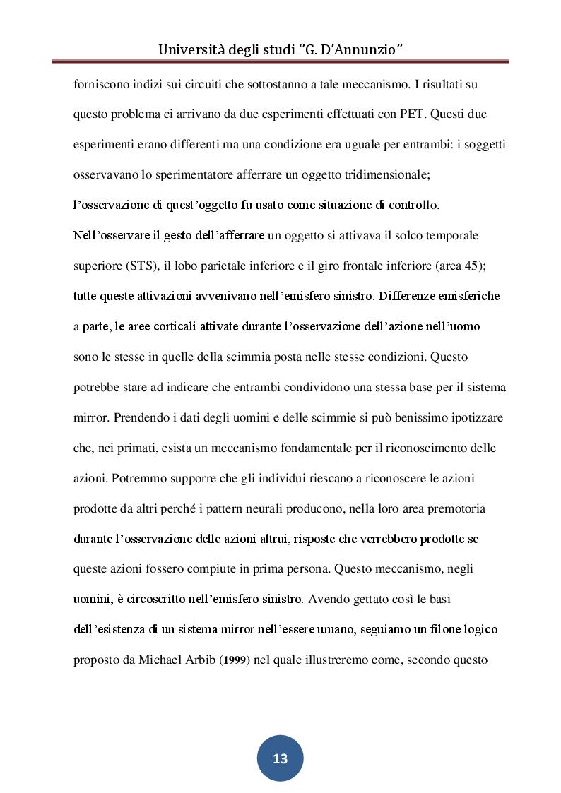 Estratto dalla tesi: Sistema Mirror e Sviluppo del Linguaggio