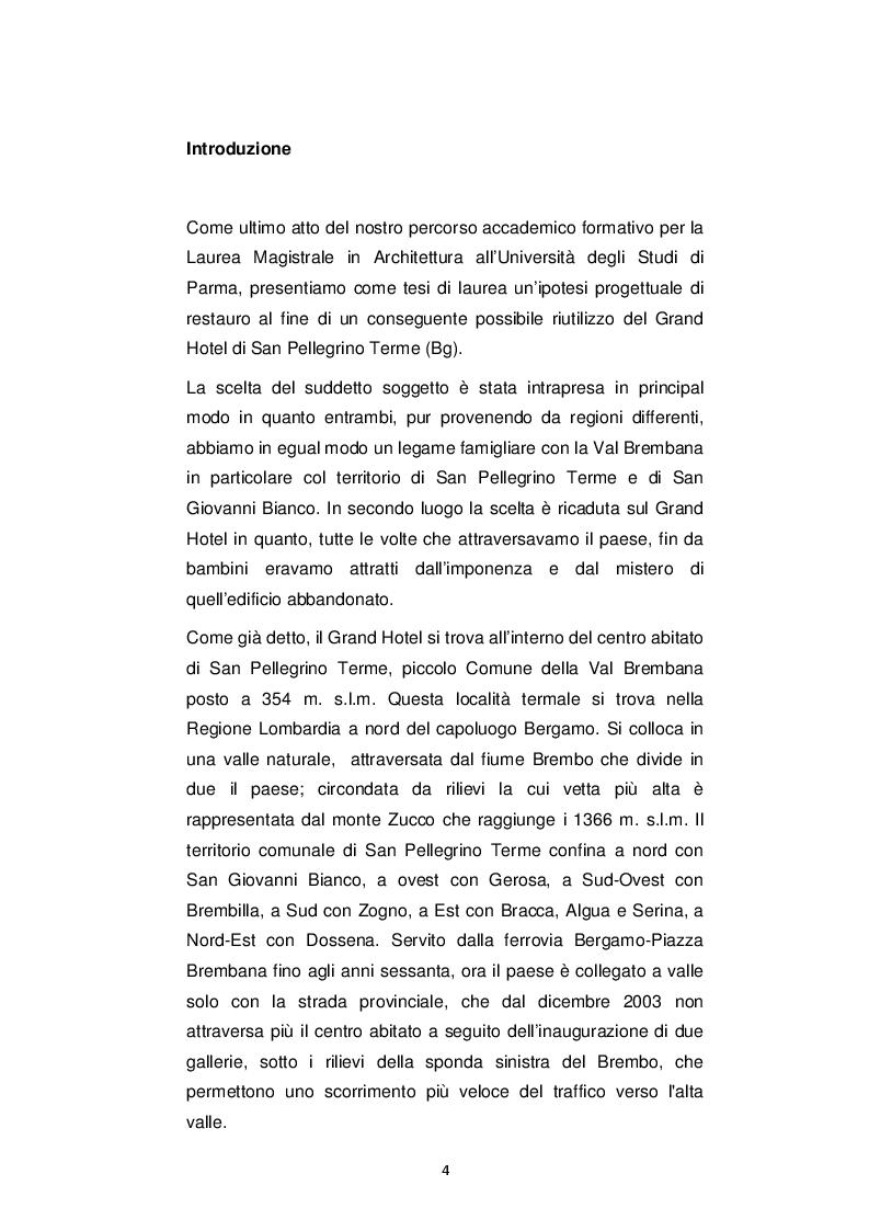 Anteprima della tesi: IL GRAND HOTEL - Il Restauro dell'Edificio Simbolo di San Pellegrino Terme, Pagina 2
