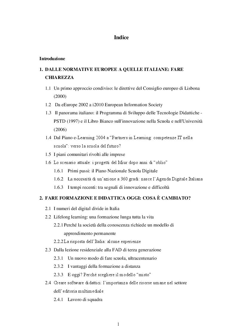 Indice della tesi: La scuola italiana: dalla carta al digitale, Pagina 1