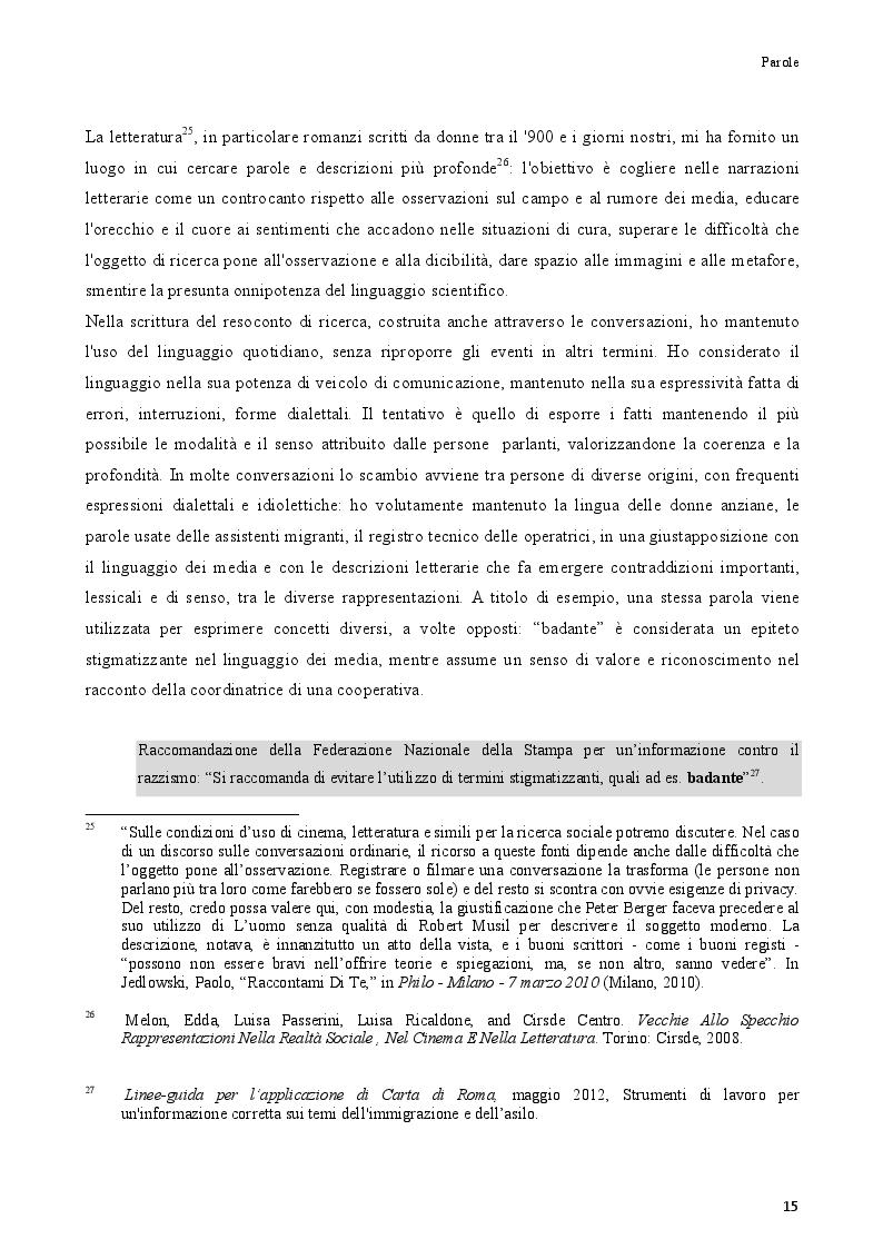 Estratto dalla tesi: Badanti straniere e donne anziane nel gruppo domestico: immagini e trasformazioni delle relazioni di cura ISBN 9788887096118.