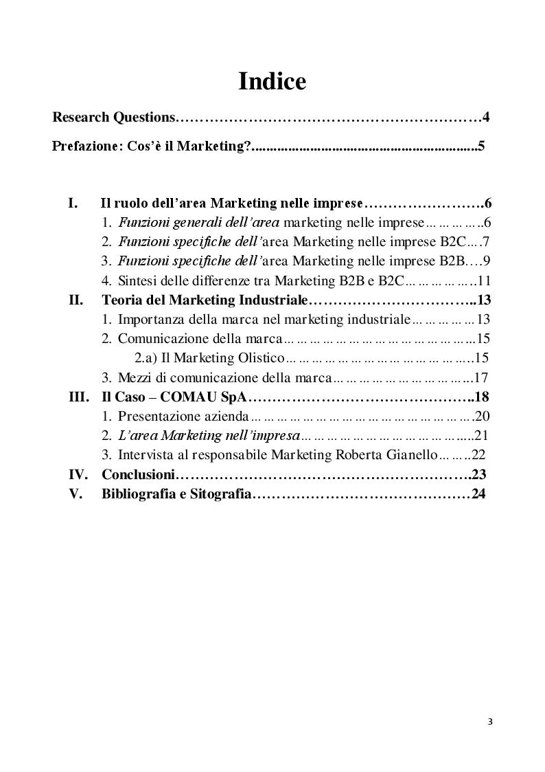 Indice della tesi: Marketing nelle imprese B2B, Pagina 1