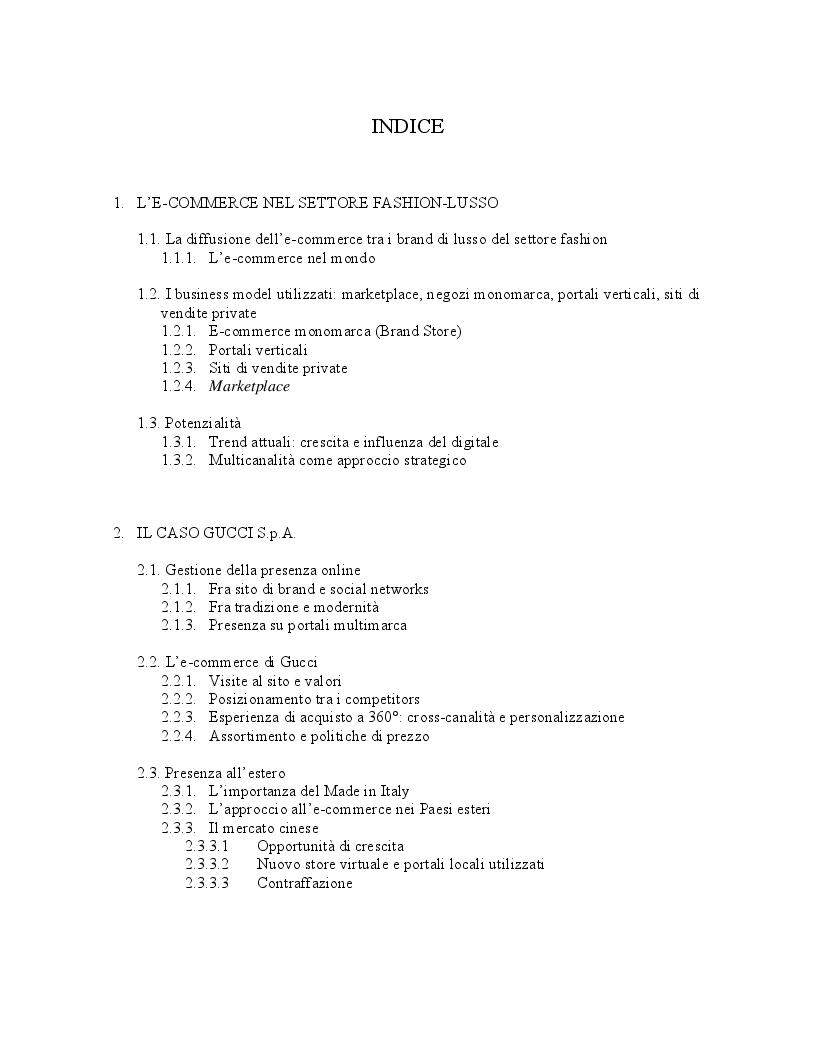 Indice della tesi: L'e-commerce nell'internazionalizzazione del settore luxury-fashion: due casi a confronto, Pagina 1